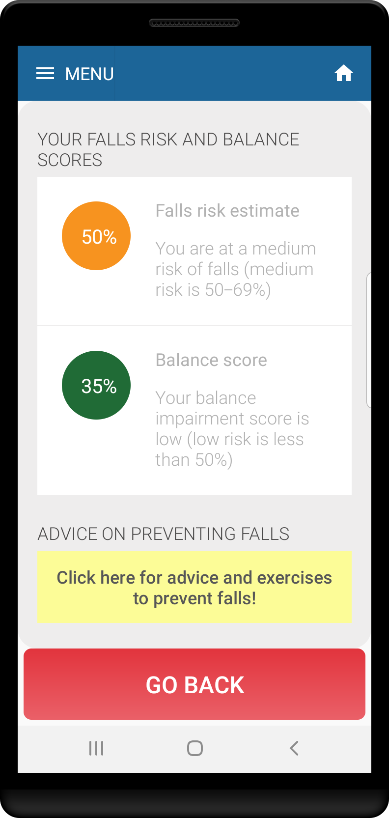 Advice and exercises to prevent falls